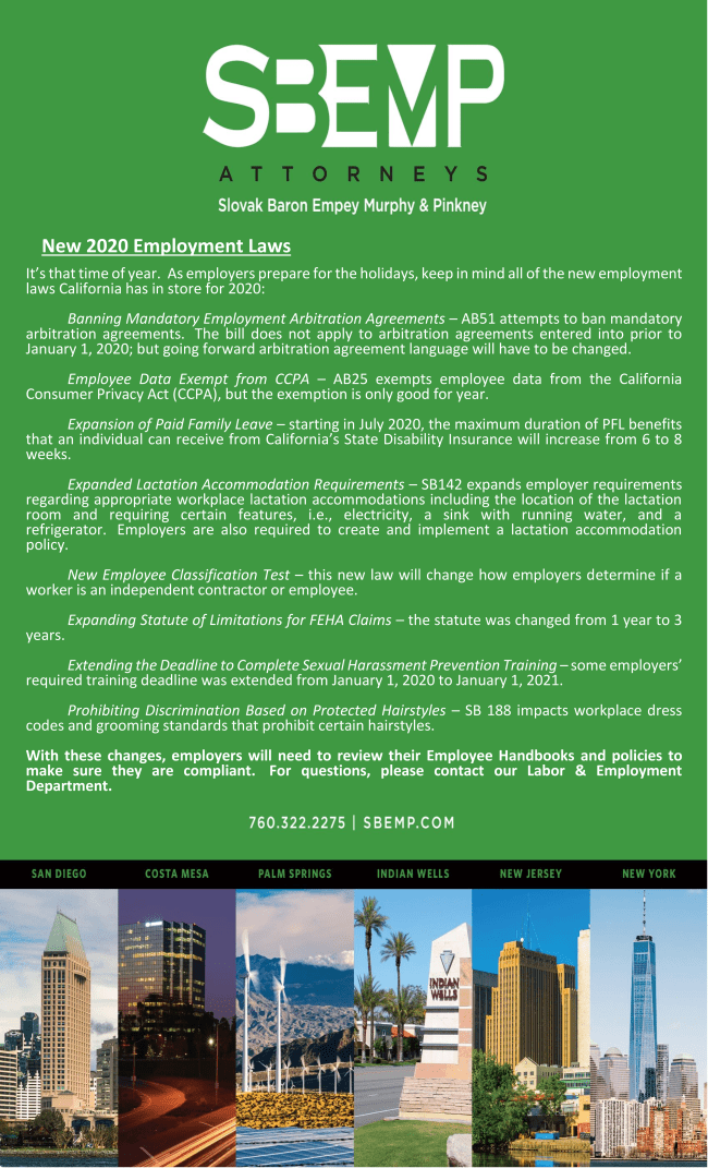 December 2019 - New 2020 Employment Laws | Palm Springs CA Lawyer